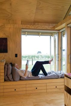 A home may not always be complete without a bay window seat. Whether it is a house or an apartment, you can have at least one. Make sure that these bay window seats are suitable for the whole conce… Interior Architecture, Interior And Exterior, Interior Design, Sustainable Architecture, Wooden House, Wooden Room, Bay Window, Window Seats, Room Window