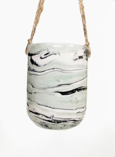 Green and Black marbled planter by Leah Ball