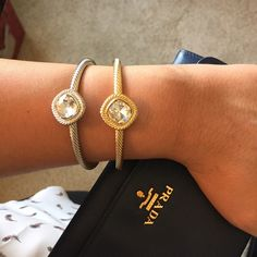 Silver Jewel Cable Cuff Stunning silver crystal cable cuff by T&J Designs. Can be worn alone or with the gold cuff also available in my closet   Size is adjustable  18K gold plated base metals  Glass crystals Nickel and lead free T&J Designs Jewelry Bracelets