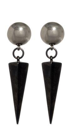 Industria Silver and Gunmetal Pyramid Earrings, Ben Amun