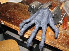 Cool! Dryer lint can be turned into an awesome clay!!  Here zombie hands (hot glue sticks & the clay recipe)