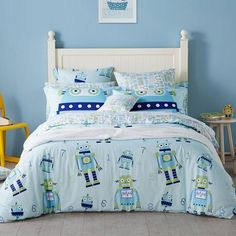 Kids Navy Apple Green and Light Blue Robot Print Funky Style Cartoon Themed Soft Cotton Twin, Full, Queen Size Bedding Sets Twin Bedroom Furniture Sets, Twin Bedroom Sets, Navy Furniture, Robot Bedroom, Kids Bedroom, Bedroom Decor, Queen Size Bedding, Bedding Sets, Bedroom Closet Storage