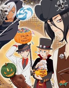 Shokugeki no Soma Trick or Treat Halloween Yukihira Soma & Takumi Aldini & Kurokiba Ryou & Hayama Akira