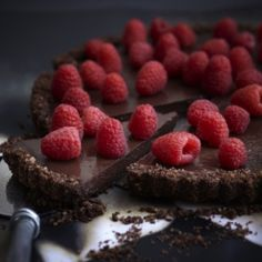 Chilli chocolate + raspberry tart  #tart #chocolate #raspberry #chilli #cake #yummy