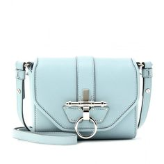 Givenchy Obsedia Mini Leather Shoulder Bag (78.065 RUB) ❤ liked on Polyvore featuring bags, handbags, shoulder bags, pale blue, blue purse, blue shoulder bag, givenchy handbags, mini shoulder bag and mini handbags