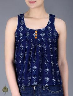 Indigo Natural Dyed Dabu Printed Pleated Chanderi Top by Jaypore Short Kurti Designs, Simple Kurta Designs, Kurta Designs Women, Kurti Neck Designs, Kurti Designs Party Wear, Salwar Designs, Blouse Designs, Kurti With Jeans, Fancy Tops