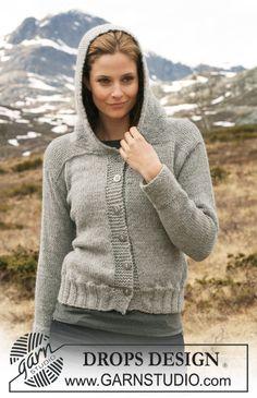 DROPS 116-24 - Veste DROPS avec capuche, tricotée en double «Alpaca». Du S au XXXL.
