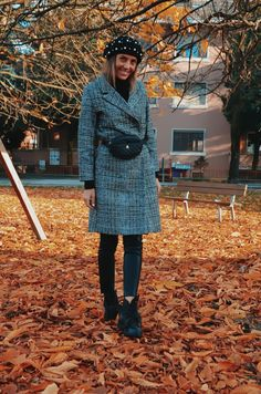 tartan plaid coat,leather pants, cristina surdu, winter look