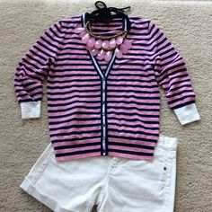 """J. Crew Striped Gauze Cardigan Super cute and light J. Crew Striped Gauze Cardigan. Pink and navy blue stripes with white Aron's the cuffs and down the button area. V neck, 3/4 sleeves. Cotton slub/nylon in a 12 gauge knit. Rib trim at the cuffs, hem and neck. Hits at the hips, approx 23"""" shoulder to hem. Size Small. Excellent condition.   #85 J. Crew Sweaters Cardigans"""