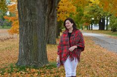 Red plaid cape outfit
