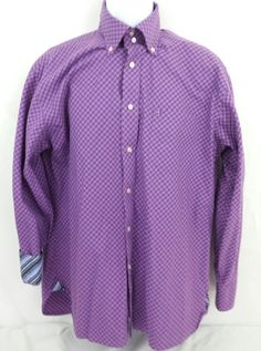 Tommy Hilfiger Purple Long Sleeve Flip Cuffs Plaid Button Down Collar Medium Men #TommyHilfiger #ButtonFront