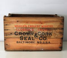 Large Wooden Crate // my granny worked at Crown for a few years. We had a few of these crates. Large Wooden Crates, Wooden Crate Boxes, Vintage Wooden Crates, Old Crates, Vintage Box, Vintage Labels, Old Boxes, Vintage Home Decor, Marketing Digital