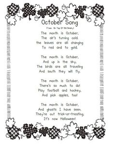 Gardening Autumn - Growing Kinders: October Calendar Songs and Vowel Chart - With the arrival of rains and falling temperatures autumn is a perfect opportunity to make new plantations Kindergarten Songs, Preschool Music, Fall Preschool, Halloween Songs Preschool, Halloween Poems For Kids, Music Activities, Preschool Ideas, Halloween Songs For Preschoolers, October Preschool Themes
