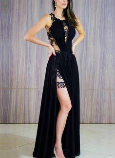 Vestido de festa com fenda