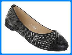 Damen-Schuhe Ballerinas | elegante Slipper mit Blockabsatz in Schwarz und Größe 40 | Schuhcity24 | Loafers mit Strass Steinen in Glitter-Optik - Ballerinas für frauen (*Partner-Link)