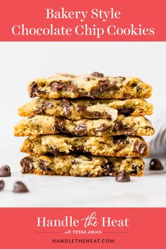 Ultra thick Bakery Style Chocolate Chip Cookies feature chewy golden brown edges with the BEST ooey and gooey centers. This easy recipe can be made in 30 minutes! #chocolatechipcookie #bakerystylecookie #cookie #cookierecipe #bestcookie