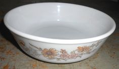 Vintage Bowl Pyrex Country Autumn Floral Brown by TheBackShak, $9.00