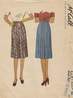 1940s Pleated Straight Skirt McCall Sewing Pattern Waistband Front Back Pleats Draped Hip Uncut Waist 26. $9.50, via Etsy.