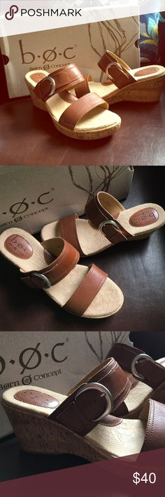 Born Charel Sandals worn once size 9 Tan leather wedge slides/sandals. Born Shoes Wedges