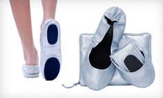 Currently on @Groupon!! $15 for Silver Matte @CitySlips Foldable Flats in S–XL with a Matching Expandable Carrying Case ($33.95 List Price). Free Shipping. Groupon deal price: $15.00