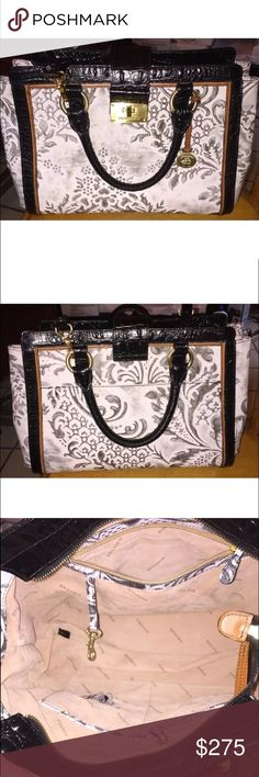 Brahmin Purse Annabelle - White Damask Style No  I85636WH Carried by hand  or with attached 5edeb64343