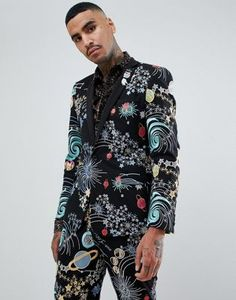 Browse online for the newest ASOS DESIGN skinny tuxedo prom suit jacket in space embroidery with removable sequin parrot styles. Shop easier with ASOS' multiple payments and return options (Ts&Cs apply). Tuxedo Dress, Tuxedo Suit, Asos, Crazy Suits, Prom Suit Jackets, Prom Tux, Smoking, Dress Suits, Men's Suits
