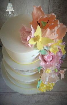 flowers wedding cake - Cake by Clare's Cakes - Leicester