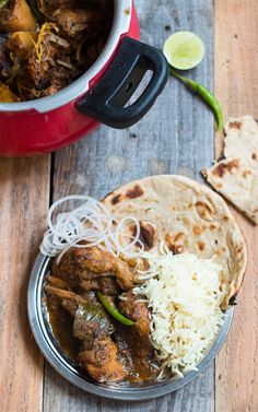 The best chicken curry recipe ever with ground spices, cooked slowly for a really hot, spicy curry. Reminds you of food at dhabas or Indian roadside restaurants which are famous for their home style cooking. #indian #curry #indianrecipe