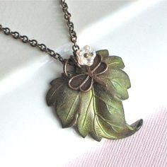 Patina Leaf Necklace  Dragonfly Czech Flower Leaf by mcstoneworks