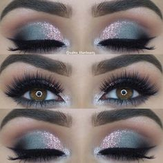 Pink Glitter + Grey Smokey Eye Makeup Idea for the Holidays