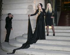 Lady Gaga and Donatella Versace Dress Up for Some Midnight Witchcraft - I know it's Lady Gaga, but that dress with a hood is amazing. Maybe it's a hooded shrug. Also amazing.