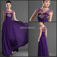 Wholesale Unique new arrival purple prom dress long evening dress party gown cap sleeves embroidery decoration, Free shipping, $123.2-145.6/Piece | DHgate