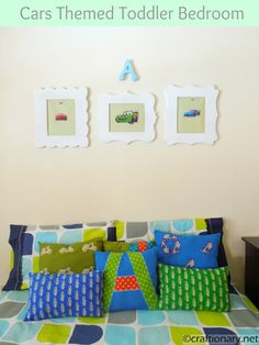 Toddler's cars themed room reveal with decorative pillows and frames..