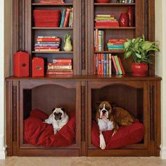 Pet-Bed Cubby with bookshelf on top. This would save me so much room with the dog having their own bedroom.