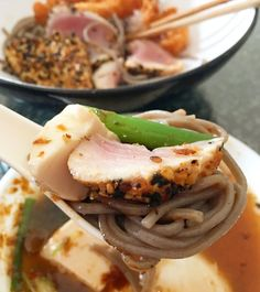 Missing Japan  soba noodles dipped in spicy Korean tofu soup served with seared tuna tataki and shrimp tempura #dippingnoodles #soba #buckwheatnoodles #tsukemen #japanesefood #tuna #tataki #eeeeeats #shrimptempura #comfortfood #homecooking #sushilovers #koreanfood #yyceats #healthy #glutenfree by artillyme