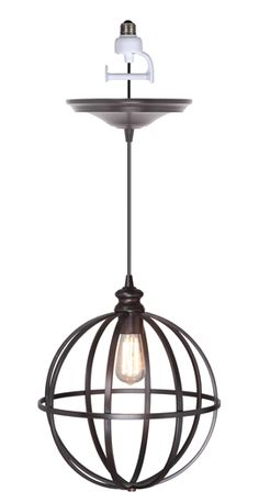 """14"""" Brushed bronze spherical cage with traditional lampcup in brushed bronze finish."""