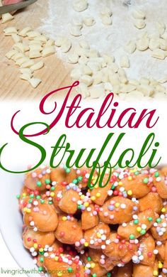 Today is baking day for me starting with our familys favorite Italian Struffoli Honey Balls!Italian Struffoli Honey Ballsare a recipe that my family has been making for years! This is Grandma Annas recipe and is the most delicious recipe that Ive tasted. Italian Pastries, Italian Desserts, Just Desserts, Italian Recipes, Canadian Recipes, English Recipes, Italian Foods, Gourmet Desserts, Fancy Desserts