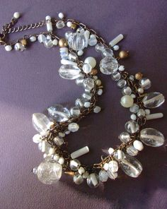 Clear Glass Bead Necklace Brass Tone Chain by RenaissanceFair