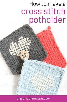 Woven potholders are charming kitchen staples. They're lovely to make and have around your home, and they also make fantastic gifts. To make a woven loop potholder extra special, consider topping it with a bit of cross stitch!