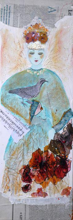 tableau art contemporain original décoration peinture moderne techniques mixtes collages : Peintures par cyane