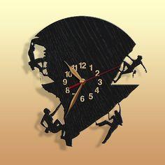 Mountaineering, Rock Climber, Climbing, Vinyl Record Wall Clock 12 inch / Modern, Black Wall Art Decor Laser cut of Vintage Vinyl Record Vinyl Record Clock, Record Wall, Vintage Vinyl Records, Clock Art, Clock Decor, Wall Art Decor, Wall Clock Wooden, Wood Wall, Black Wall Art