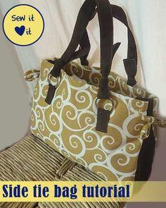 Side Tie Bag Sewing Tutorial | free pattern on PatternPile