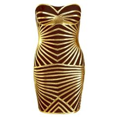 Price Drop!!! Black/Gold Bandage Dress