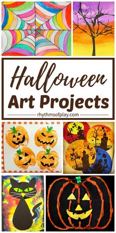 Invite children to try any of these easy Halloween art projects for kids. Inside you will find spooky and cute Halloween arts and crafts to try. These fun Halloween art and painting ideas include pumpkins, bats, cats, witches, spider webs and more! Halloween Art Projects, Halloween Arts And Crafts, Halloween Painting, Arts And Crafts Projects, Projects For Kids, Halloween Fun, Kids Crafts, Crafts Cheap, Fall Art Projects