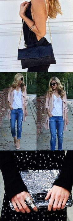 I love the blazer/denim combo. Casual Outfits, Cute Outfits, Fashion Outfits, Womens Fashion, Casual Heels, Spring Summer Fashion, Autumn Winter Fashion, Spring Outfits, Look 2015
