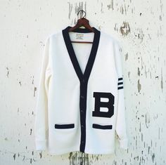 Vintage B Cardigan / Letterman Jacket / Size 42 Large / Navy Blue Off White / Button Up Pockets / Bristol Products Official Awards Sweater by MODernThrowback on Etsy