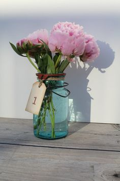 Set of 10 Mason Jar Wood Tags Table Numbers by CrimsonHollow, $20.00 Shabby Chic Rustic Affordable Table Numbers Budget Wedding