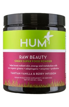Free shipping and returns on Hum Nutrition Raw Tahitian Vanilla & Berry Green Superfood Powder at Nordstrom.com. What it is: Raw Beauty is the ultimate green powder with a unique proprietary blend and Tahitian vanilla and berry taste to help boost energy and metabolism and leave your skin radiant.What it does: Created by Hum Nutrition's leading nutritionists, this powder contains alkalizing greens, detoxifying and energizing herbs, beauty boosting phytonutrients and digestion-supporti...