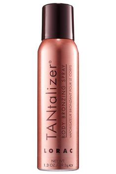 """Kristyn's Tip: """"Sprays really let you get the hard-to-reach areas, like the backs of the arms and thighs. I like ones with an instant bronzer that let you see where you've applied."""" Editor's Pick: LORAC TANtalizer Body Bronzing Spray, $15, loraccosmetics.com. No time to tan before vacation? The new 1.3 ounce travel-size is perfect for carrying-on. Courtesy  - HarpersBAZAAR.com"""