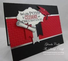 red, black and silver grad card using Stampin' Up! Pomp  Circumstance